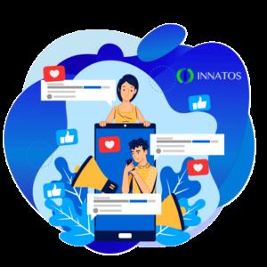 Innatos - ¿Cómo CRM Social ayuda en tu Estrategia de Marketing? - dos personas con un fondo azul