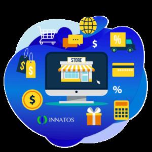 Innatos - ¿Cómo CRM Social ayuda en tu Estrategia de Marketing? - una computadora con simbolos de un ecommerce