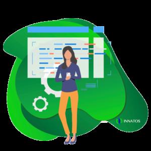 Innatos - ¿Cuánto cuesta el desarrollo de software personalizado? - mujer profesional con una grafica de fondo