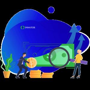 Innatos - ¿Cuánto cuesta el desarrollo de software personalizado? - dos personas profesionales buscando dinero