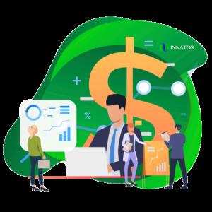 Innatos - ¿Cuánto cuesta el desarrollo de software personalizado? - hombre profesional con personas profesionales de fondo con dinero