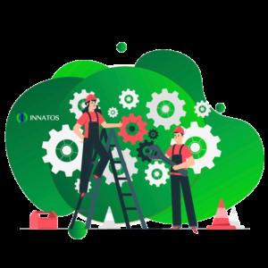 Innatos - ¿Cuánto cuesta el desarrollo de software personalizado? - personas trabajadoras con tuercas de fondo