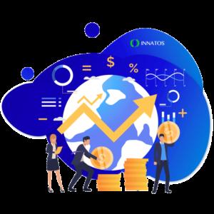 Innatos - ¿Cuánto cuesta el desarrollo de software personalizado? - globo terraquio con dinero y una flecha hacia arriba