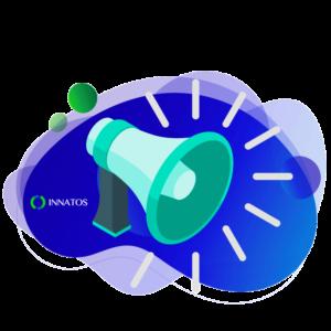 Innatos - claves de comunicación interna - megafono con fondo azul