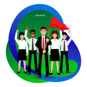 Innatos - ¿Cómo crear Comunicaciones Internas con su Equipo? - grupo de personas profesionales con bandera roja