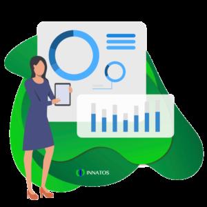Innatos - ¿Cuánto cuesta el desarrollo de software personalizado? - mujer profesional viendo unas graficas