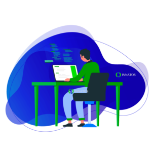 Innatos - hombre trabajando sentado en su computadora animado