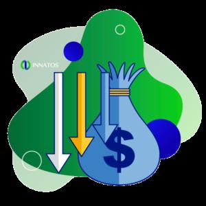 Innatos - desarrollo software - bolsa con dinero con flechas abajo
