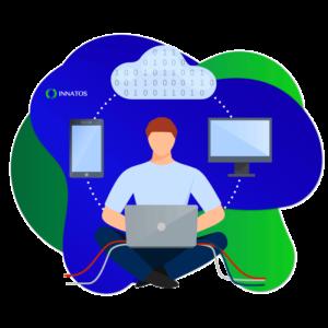 Innatos - Consejos para la integración de ERP en una Tienda en Línea - computadora con personas e información