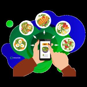 Innatos - persona seleccionando comida de su aplicacion